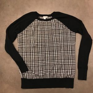 Merona black and white houndstooth crew sweater